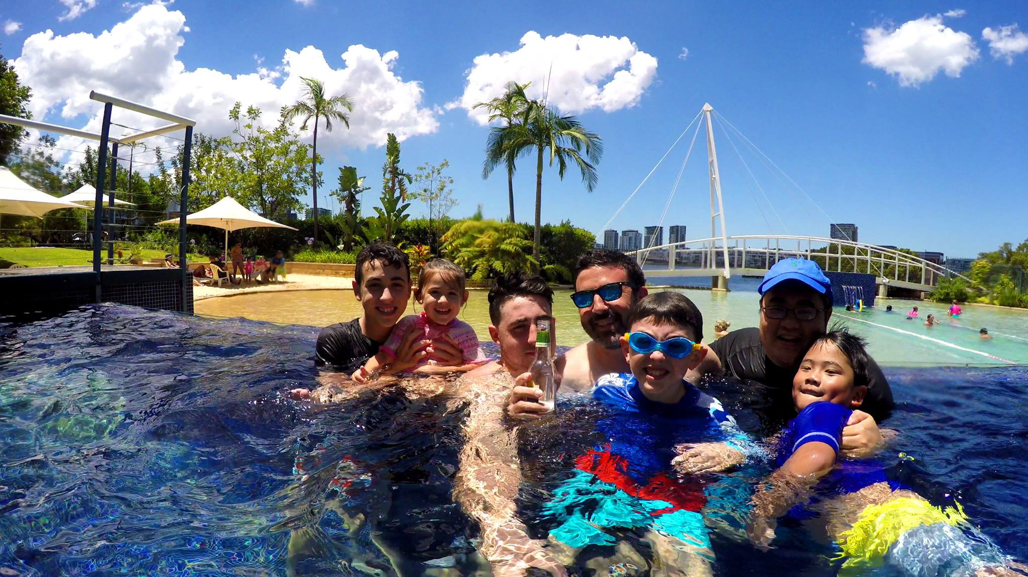 Happy Boxing Day Test lunch break! Lunch and a swim with the Cu's