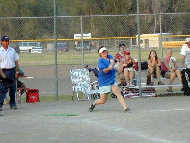 Jaimee Woolard Callies playing softball