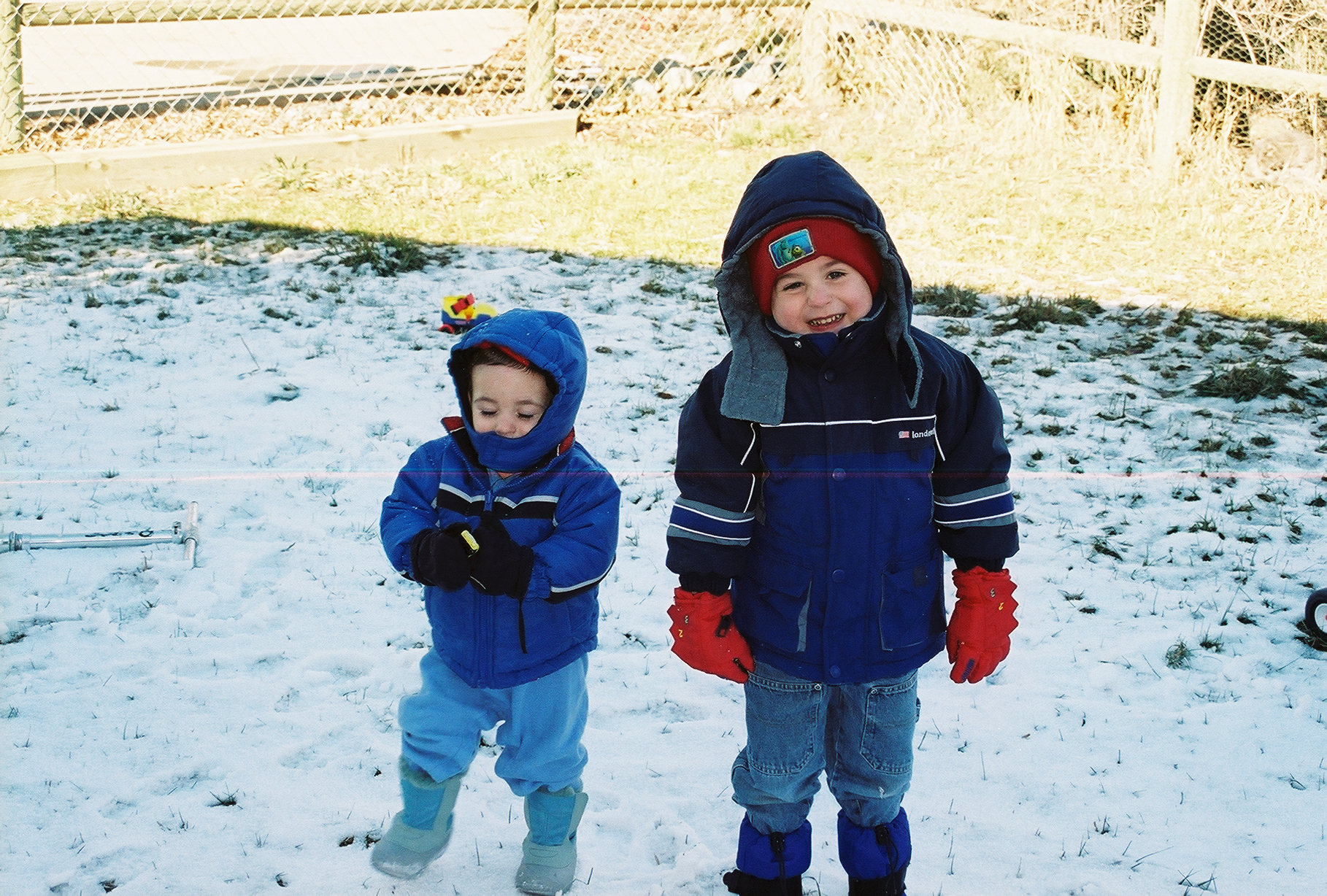 Nevan and Liam Doig when the snow started melting
