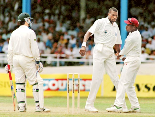 Curtly Ambrose and Steve Waugh