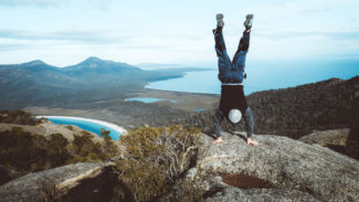 A handstand upon the top of Mount Amos, Tasmania. Why not?