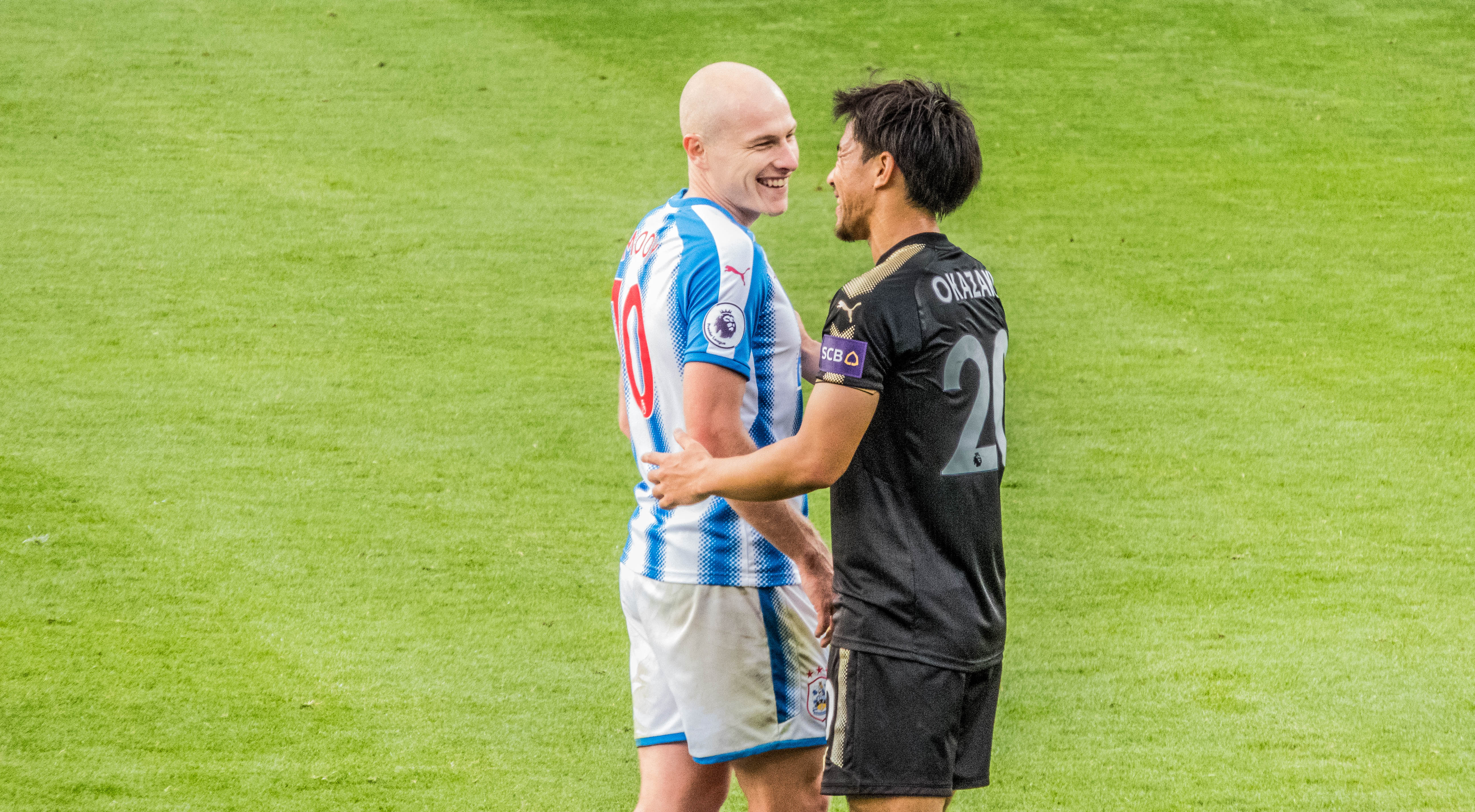 Aaron Mooy and Okasaki share a moment