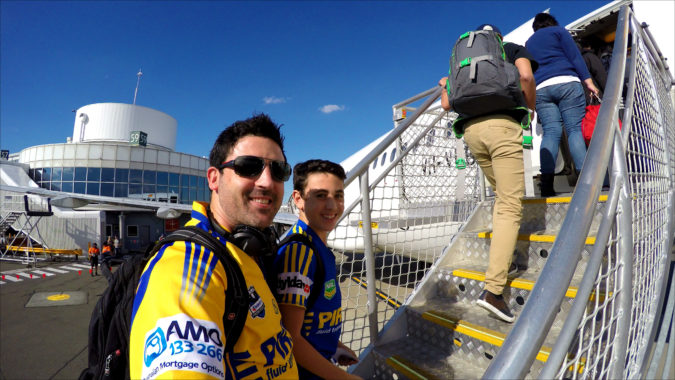 Michael & Liam Doig boarding to fly to Brisbane